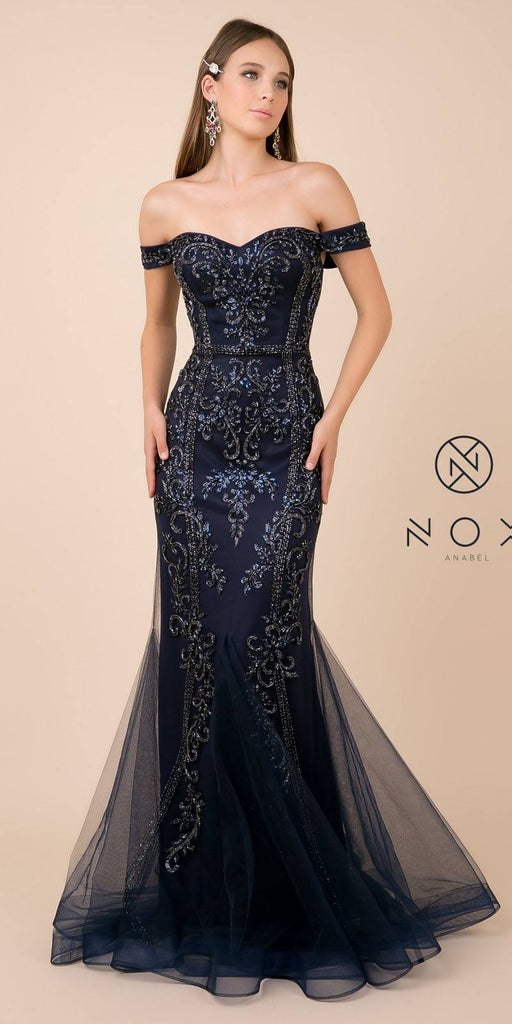 Off-Shoulder Beaded Long Prom Dress Navy Blue