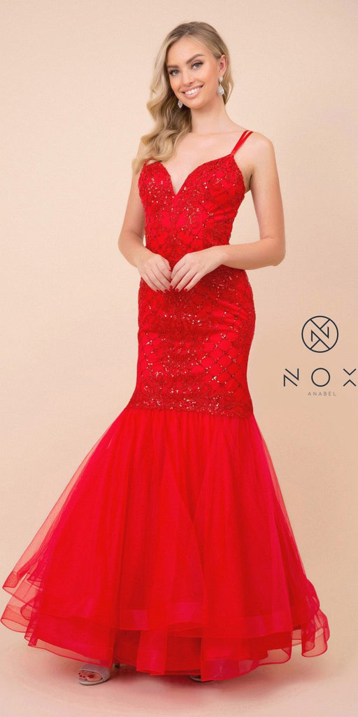 Red Mermaid Long Prom Dress with Strappy-Back