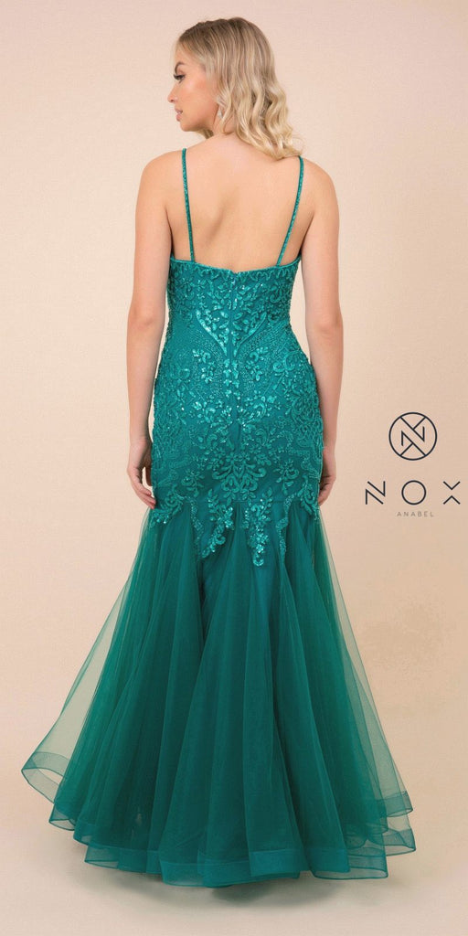 Embellished V-Neck Green Mermaid Long Prom Dress