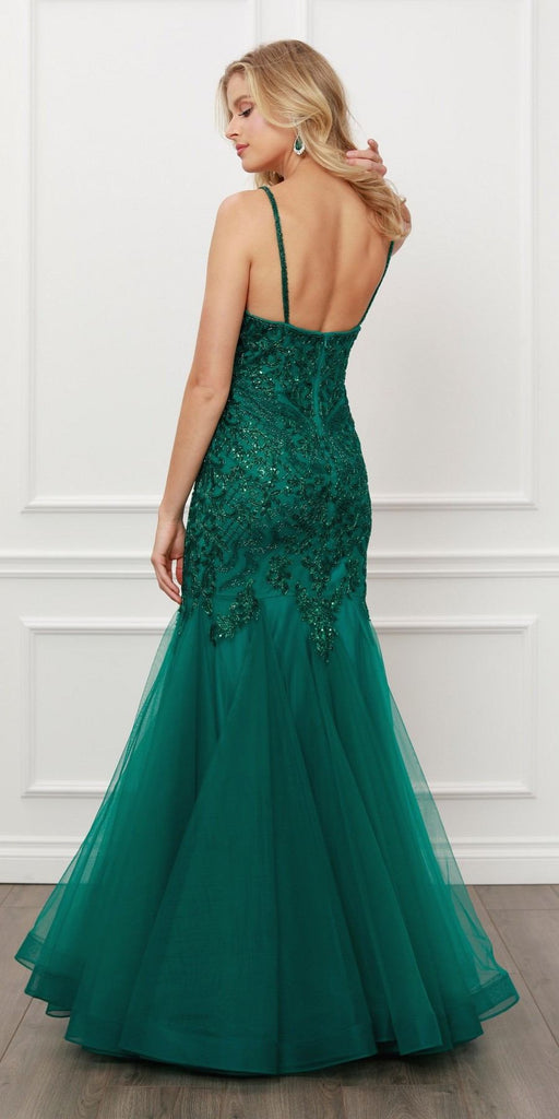 Nox Anabel H402 Embellished V-Neck Green Mermaid Long Prom Dress