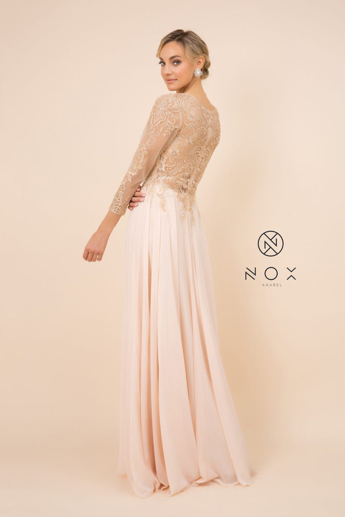 Nox Anabel H529 Long Sleeved A-Line Long Chiffon Gold MOB Dress