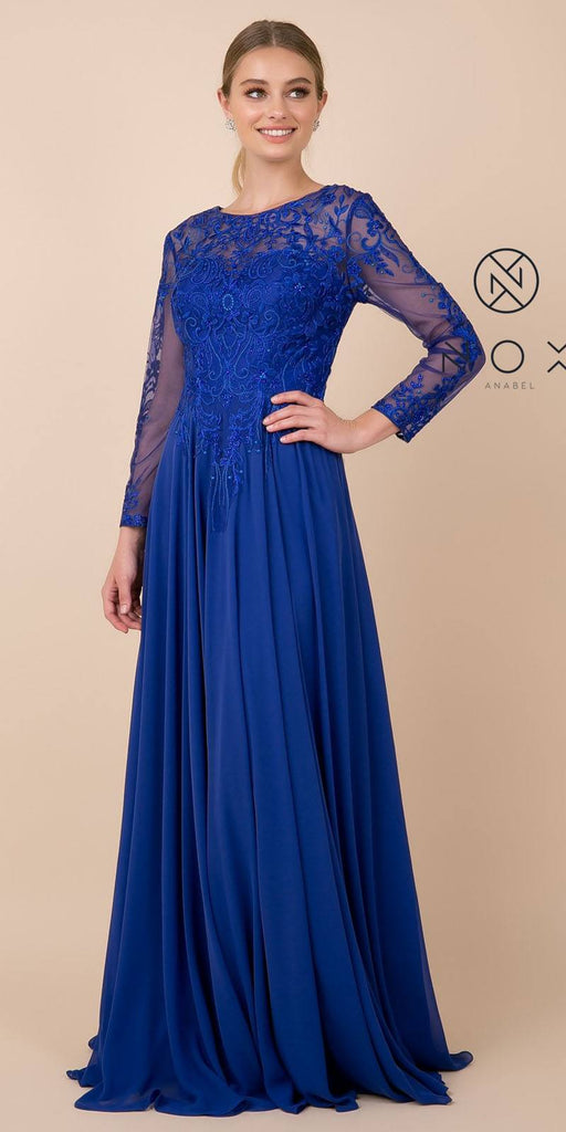Nox Anabel H529 Long Sleeved A-Line Long Chiffon Royal Blue MOB Dress