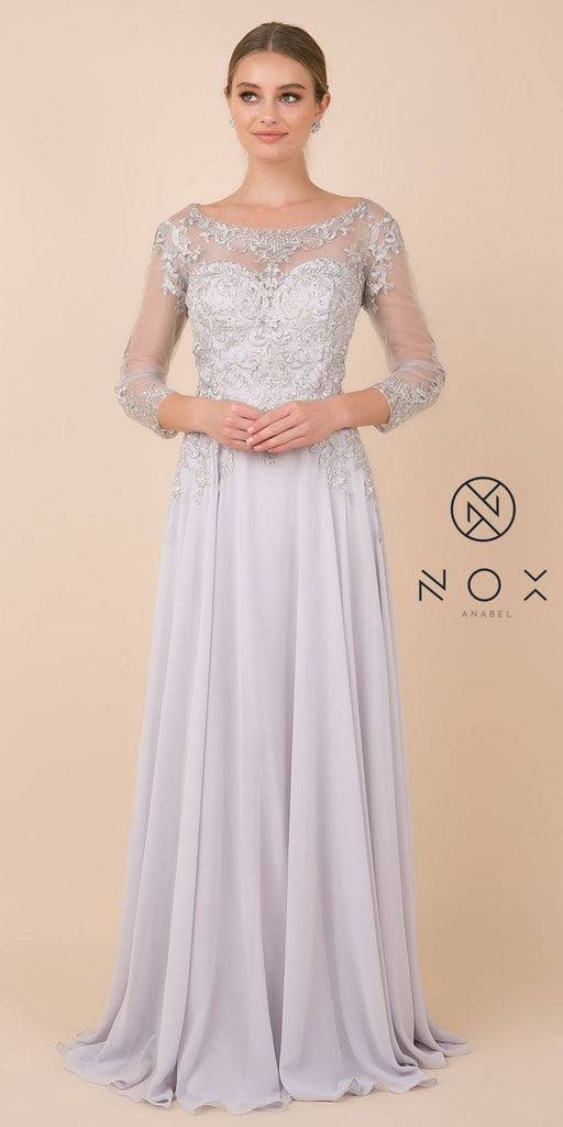Nox Anabel H529 Long Sleeved A-Line Long Chiffon Silver MOB Dress