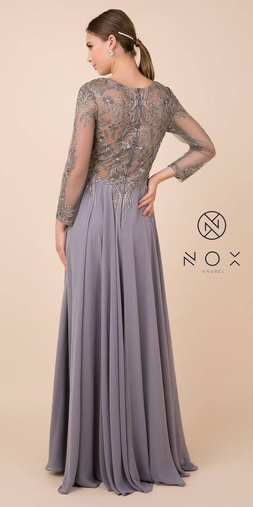 Long Sleeved Illusion Appliqued Long Formal Dress Gold