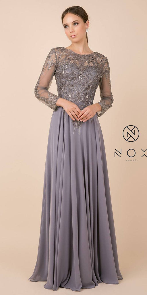 Long Sleeved Illusion Appliqued Long Formal Dress Silver