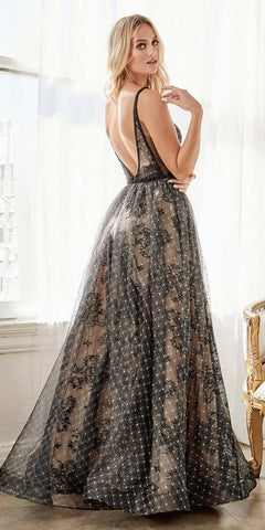 Cinderella Divine H9928 Floor Length A-Line Gown Black/Nude Layered Lace Overlays Deep V-Neckline