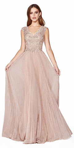 Pleated Metallic Long Prom Dress Dusty Rose