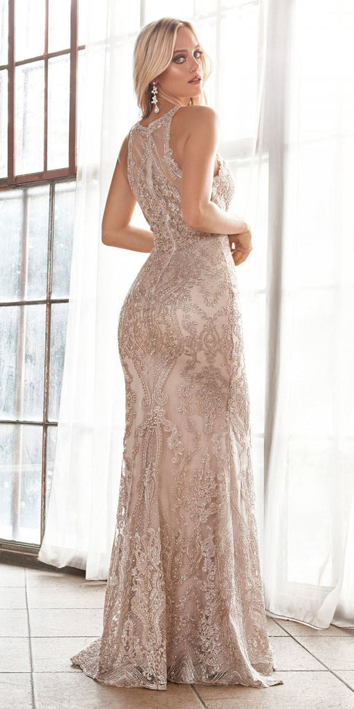 Cinderella Divine HT074 Long Slim Fit Lace Gown Champagne/Gold V-Neckline Covered Lace Back