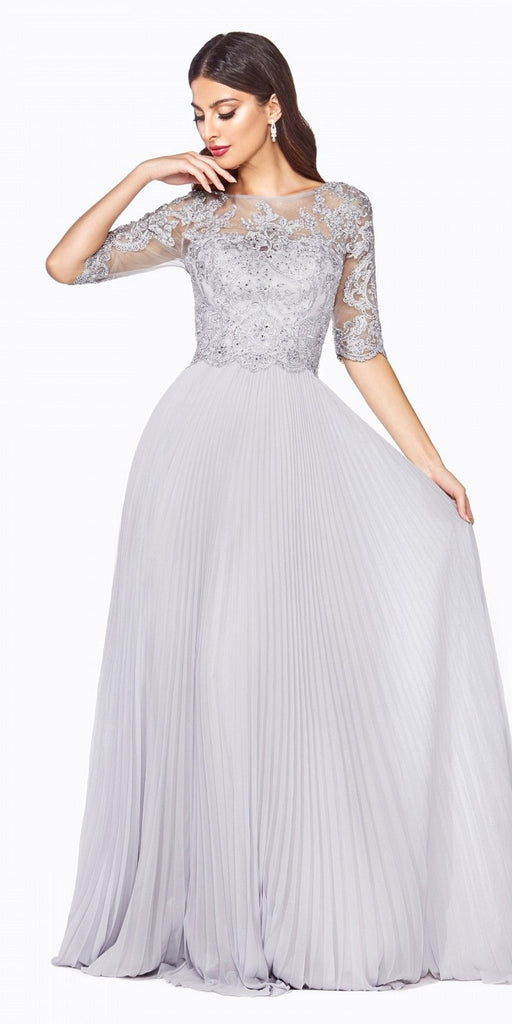 Cinderella Divine HT090 Long A-Line Dress Silver Pleated Chiffon Skirt Lace Three-Quarter Sleeve Bodice