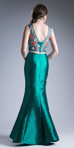 Two-Piece Mermaid Prom Gown Embroidered Top Green