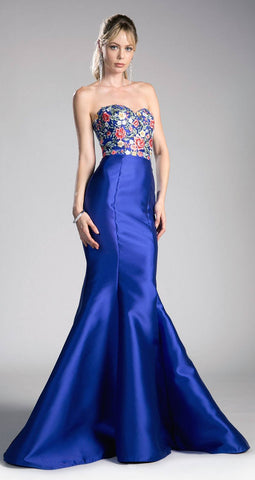 Royal Blue Strapless Long Prom Dress Embroidered Bodice