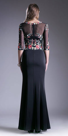 Black Embroidered Long Formal Dress V-Neck