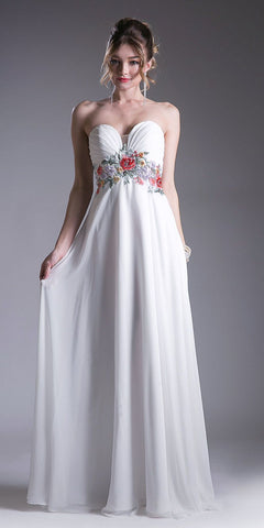 Off White Empire Waist Long Formal Dress Embroidered