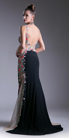 Black Fit and Flare Embroidered Prom Gown Open Back with Train