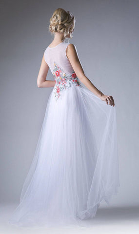 Embroidered Bodice A-Line Long Formal Dress Off White