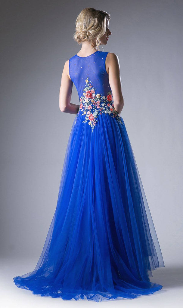 Embroidered Bodice A-Line Long Formal Dress Royal Blue