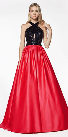 Cinderella Divine J0234 Long Satin Ball Gown Black/Hot Pink Beaded Criss Cross Keyhole Neckline