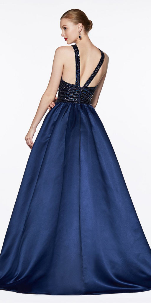 Cinderella Divine J0234 Long Satin Ball Gown Navy Blue Beaded Criss Cross Keyhole Neckline