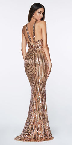 Cinderella Divine J0235 Fully Beaded Sequin Gown Rose Gold Keyhole Halter Formal