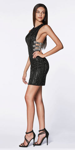 Fitted Halter Sequin Gown Black Long Illusion Sides Strappy Back