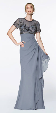 Cinderella Divine J0295 A-Line Wrap Dress Gray Short Sleeves Embellished Empire Bodice