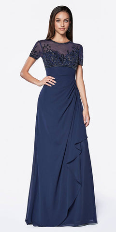 Cinderella Divine J0295 A-Line Wrap Dress Navy Blue Short Sleeves Embellished Empire Bodice