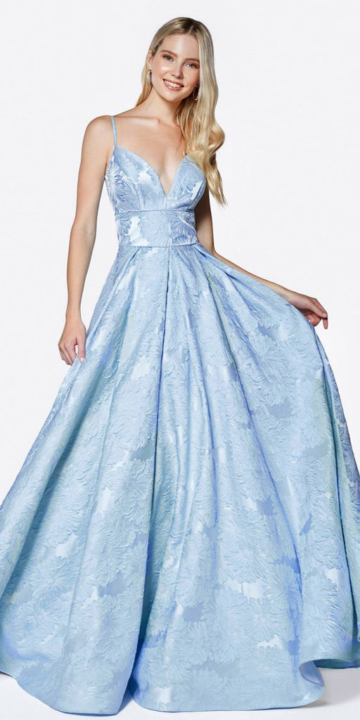 Cinderella Divine J0319 Floor Length Floral Print Ball Gown Blue Deep Sweetheart Neckline