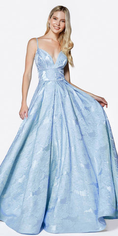 Light Blue Beaded Bodice Strapless Ball Gown Princess Dress with Bolero