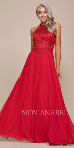 Red High Neck Embroidered Long Prom Dress Cut Out Back