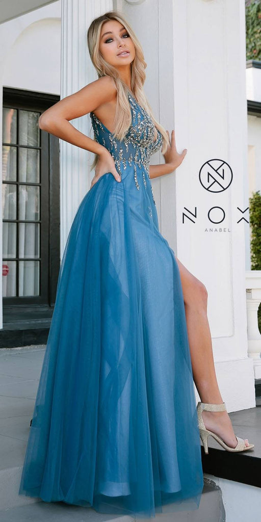 Nox Anabel J324 Cobalt Blue V-Neck and Back Formal Ball Gown Slit