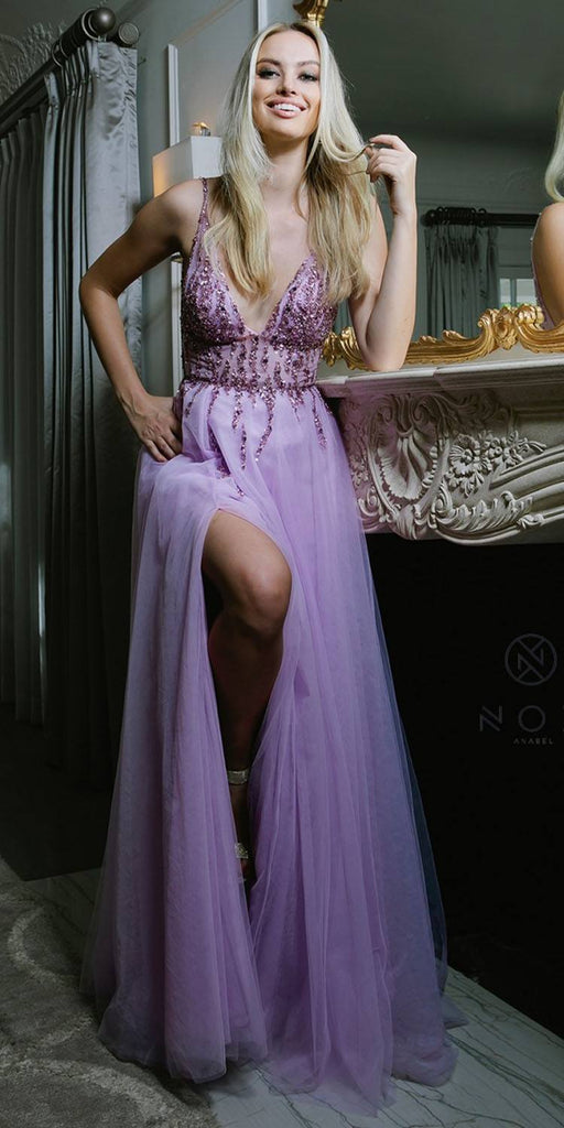 Lilac V-Neck and Back Prom Ball Gown with Slit