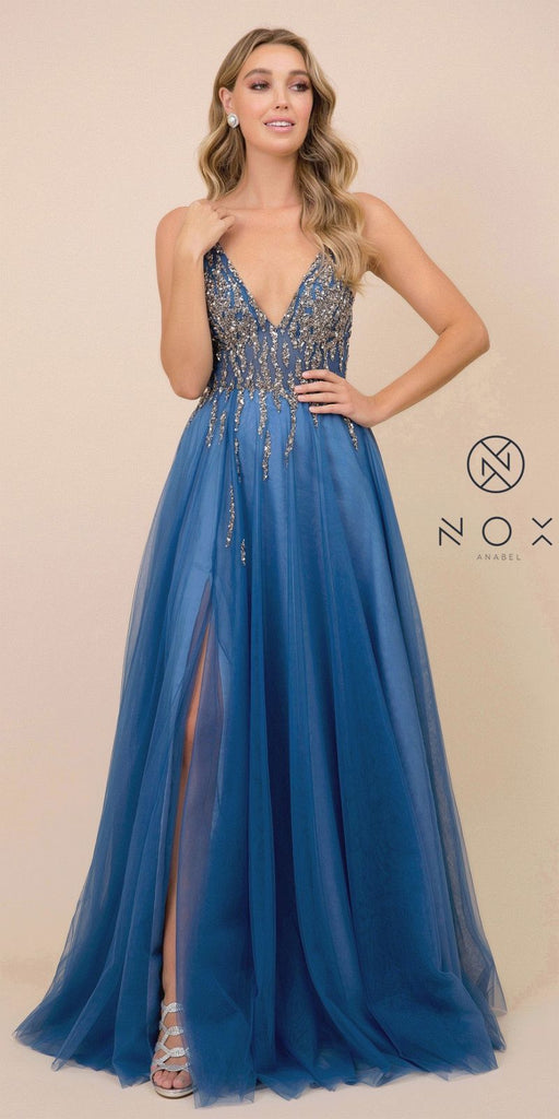 Cobalt Blue V-Neck and Back Prom Ball Gown with Slit