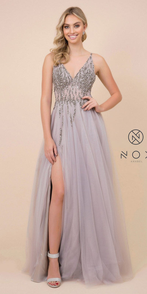 Gray V-Neck and Back Prom Ball Gown with Slit