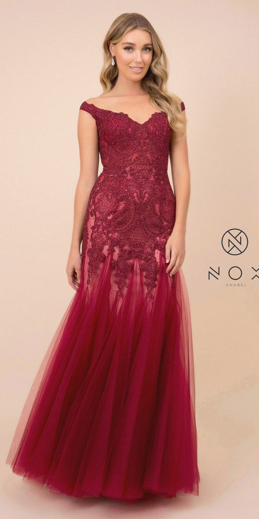 Appliqued Burgundy/Nude Off-Shoulder Mermaid Long Prom Dress
