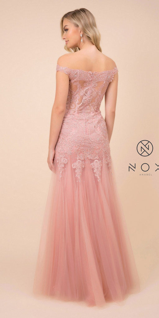 Appliqued Rose Off-Shoulder Mermaid Long Prom Dress