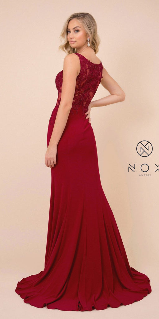 Burgundy Appliqued Fit and Flare Long Prom Dress