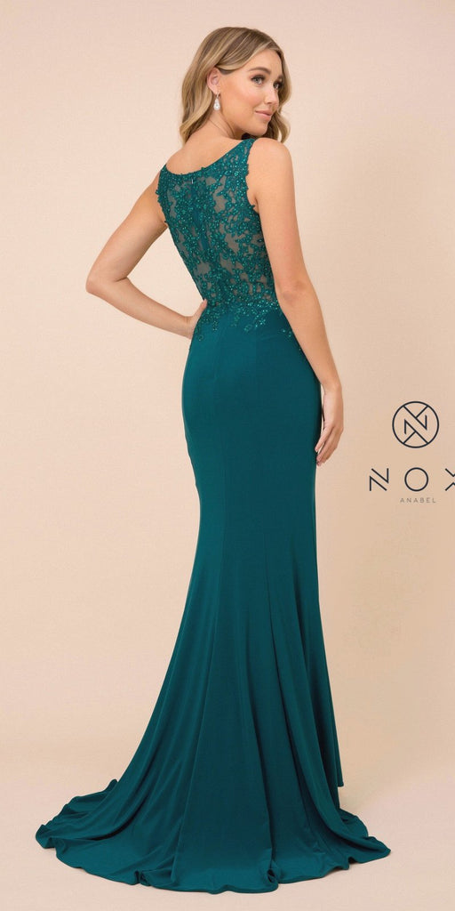 Green Appliqued Fit and Flare Long Prom Dress