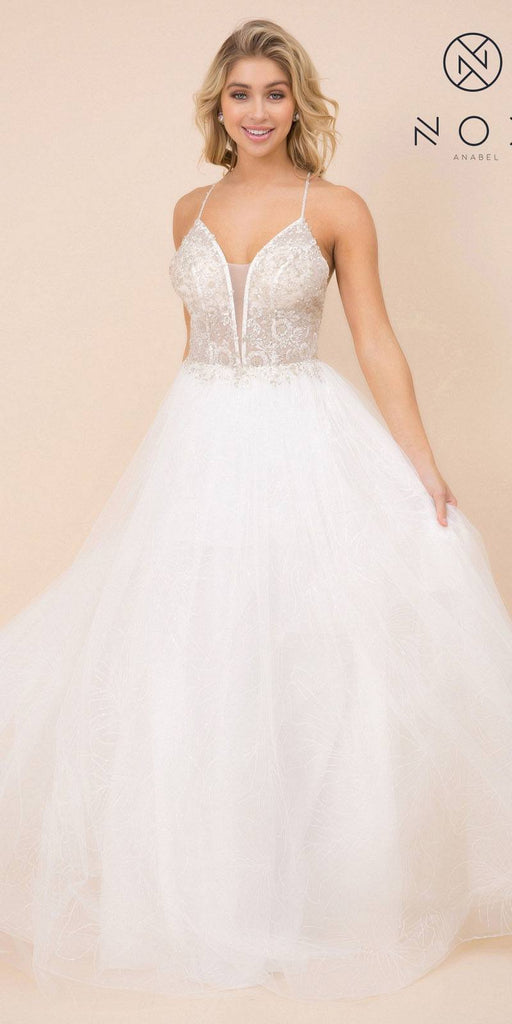 Embellished Prom Ball Gown White with Crisscross Back