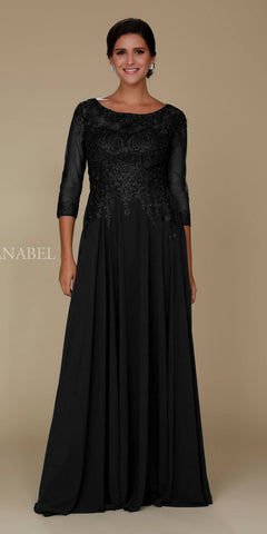 Illusion Appliqued A-line Long Formal Dress Mid-Sleeves Black