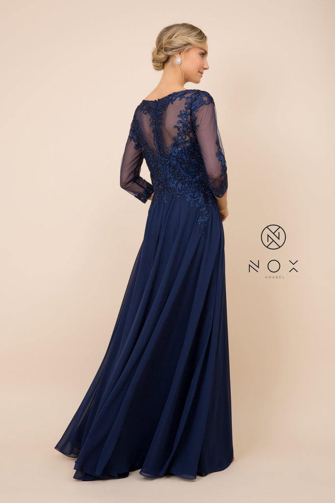 Nox Anabel J501 Long A-line Navy Blue Chiffon Dress Mid Length Sleeves