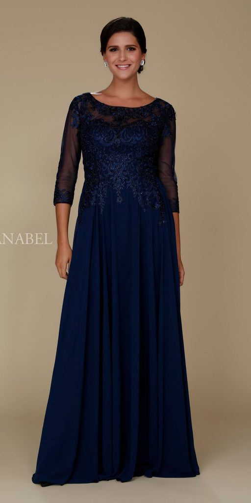 Illusion Appliqued A-line Long Formal Dress Mid-Sleeves Navy Blue
