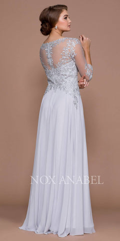 Illusion Appliqued A-line Long Formal Dress Mid-Sleeves Silver