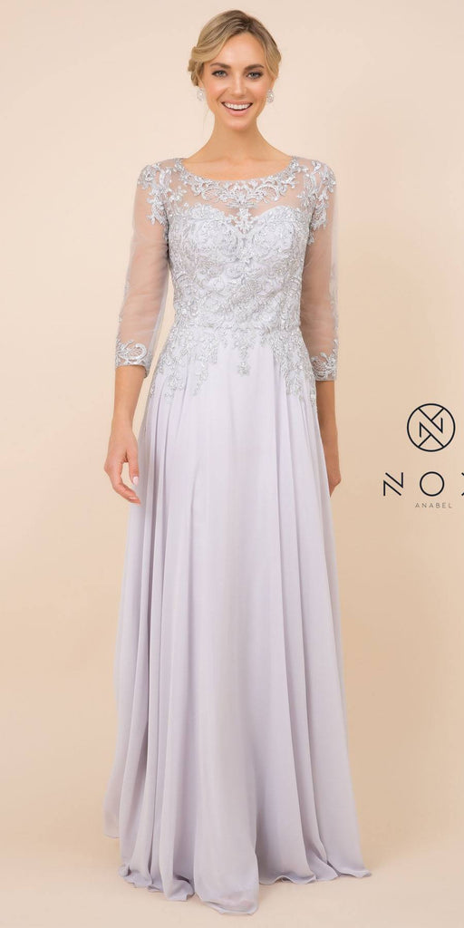 Nox Anabel J501 Long A-line Silver Chiffon Dress Mid Length Sleeves