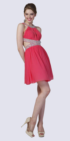 Beaded High Neck Cocktail Dress Coral Side Cut Outs Chiffon
