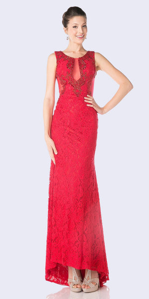 Red Sleeveless Long Formal Dress Illusion Back