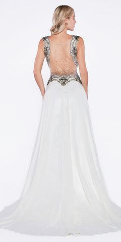 Illusion Back Beaded Long A-line Formal Dress Cream