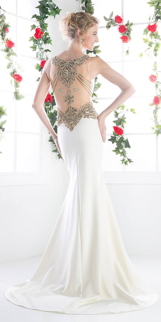 Cream Sleeveless V-Neck Evening Gown Form Fit with Slit