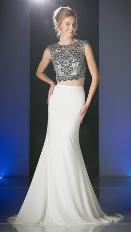 Ivory Two-Piece Mermaid Prom Gown Appliqued Crop Top