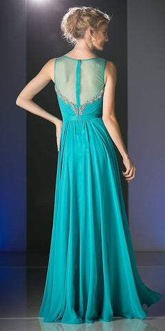 Illusion Pleated Bodice A-Line Long Formal Dress Mint