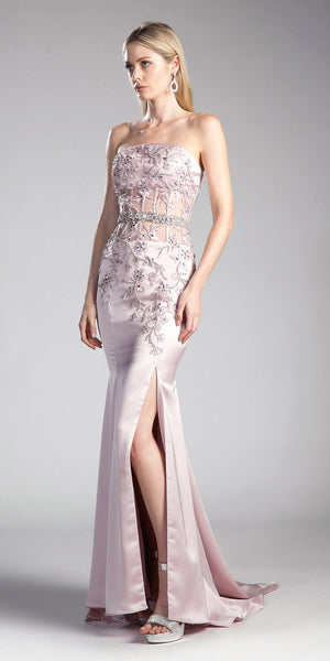 Blush Strapless Mermaid Prom Gown Appliqued with Slit